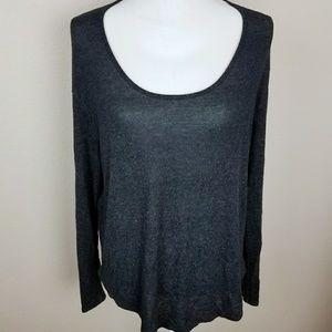Lush Wide Sleeve Black Low Round Scoop Neck Shirt